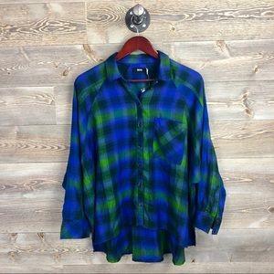 NEW BDG Plaid Drapey Flannel Button-Down Shirt